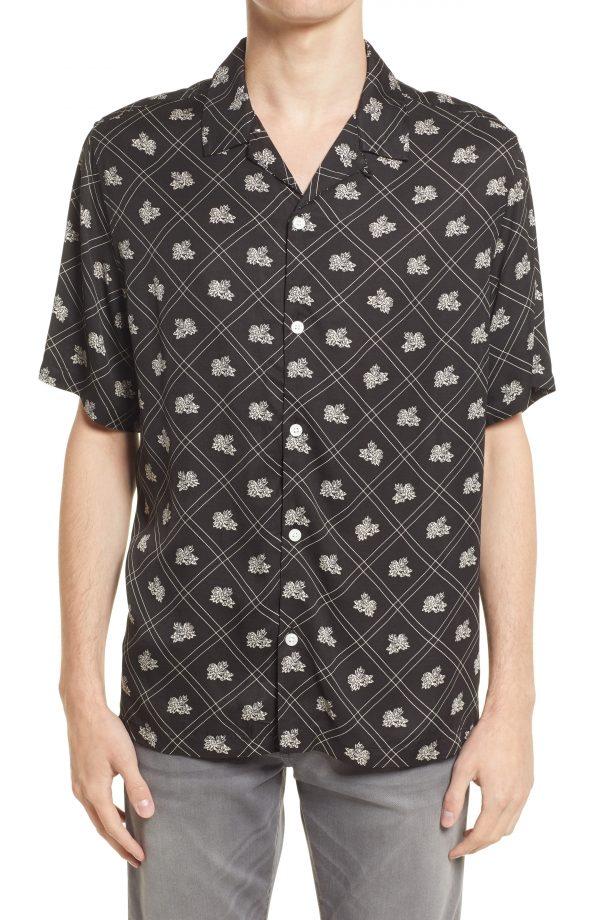 Men's Allsaints Men's Rose Relaxed Fit Floral Short Sleeve Button-Up Shirt, Size Medium - Black
