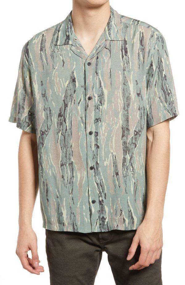 Men's Allsaints Men's Serpentes Short Sleeve Button-Up Camp Shirt, Size Small - Green