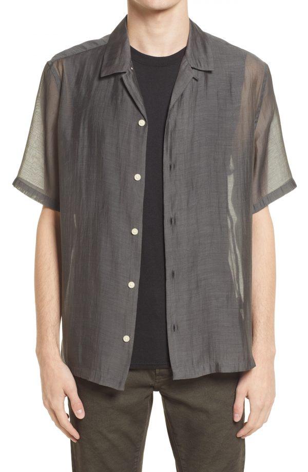 Men's Allsaints Men's Solana Relaxed Fit Short Sleeve Button-Up Shirt, Size Large - Grey
