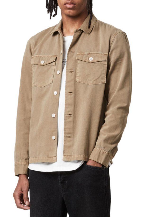 Men's Allsaints Men's Spotter Button-Up Shirt, Size X-Large - Brown
