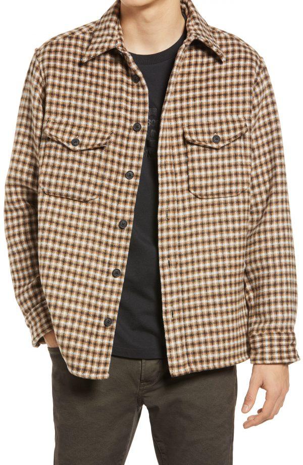 Men's Allsaints Men's Tierra Plaid Shirt Jacket, Size X-Small - Beige