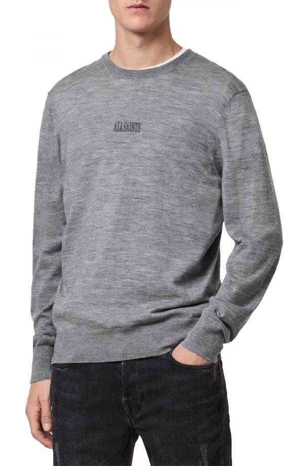 Men's Allsaints Merino Wool Crewneck Sweater, Size XX-Large - Grey