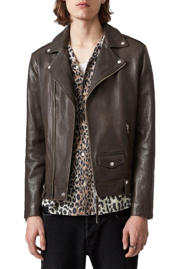 Men's Allsaints Milo Leather Biker Jacket, Size Medium - Brown