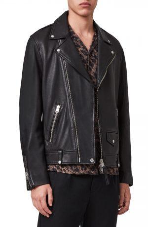 Men's Allsaints Milo Leather Biker Jacket, Size Small - Black
