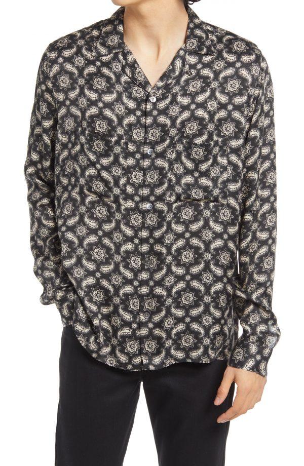 Men's Allsaints Mitte Relaxed Fit Button-Up Shirt, Size XX-Large - Black