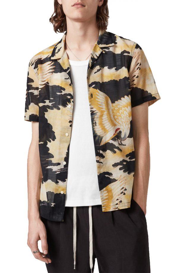 Men's Allsaints Miyako Short Sleeve Button-Up Camp Shirt, Size Medium - Black