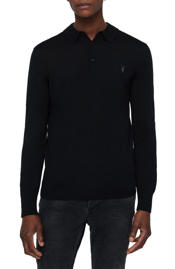 Men's Allsaints Mode Long Sleeve Wool Polo, Size Small - Black