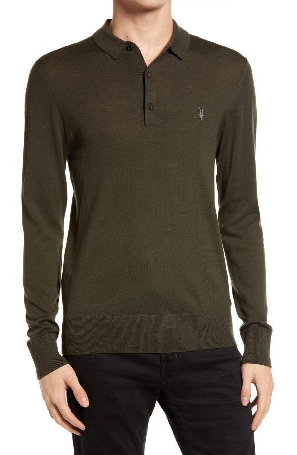 Men's Allsaints Mode Long Sleeve Wool Polo, Size XX-Large - Green