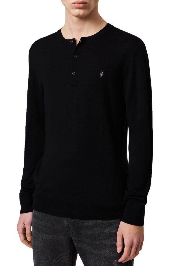 Men's Allsaints Mode Merino Wool Henley, Size Medium - Black