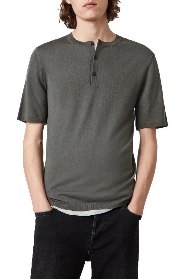 Men's Allsaints Mode Merino Wool Henley, Size Small - Green