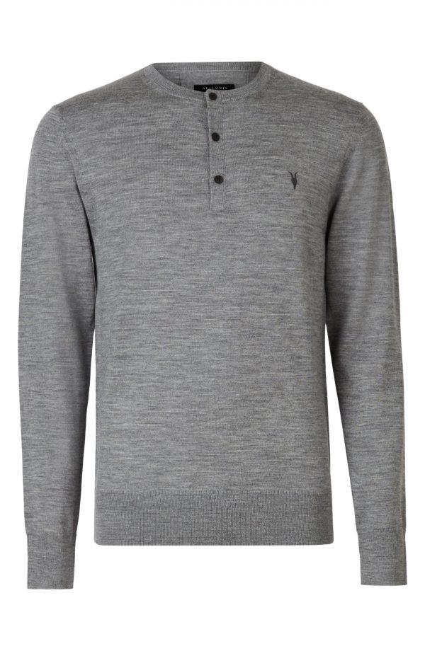 Men's Allsaints Mode Merino Wool Henley, Size Small - Grey