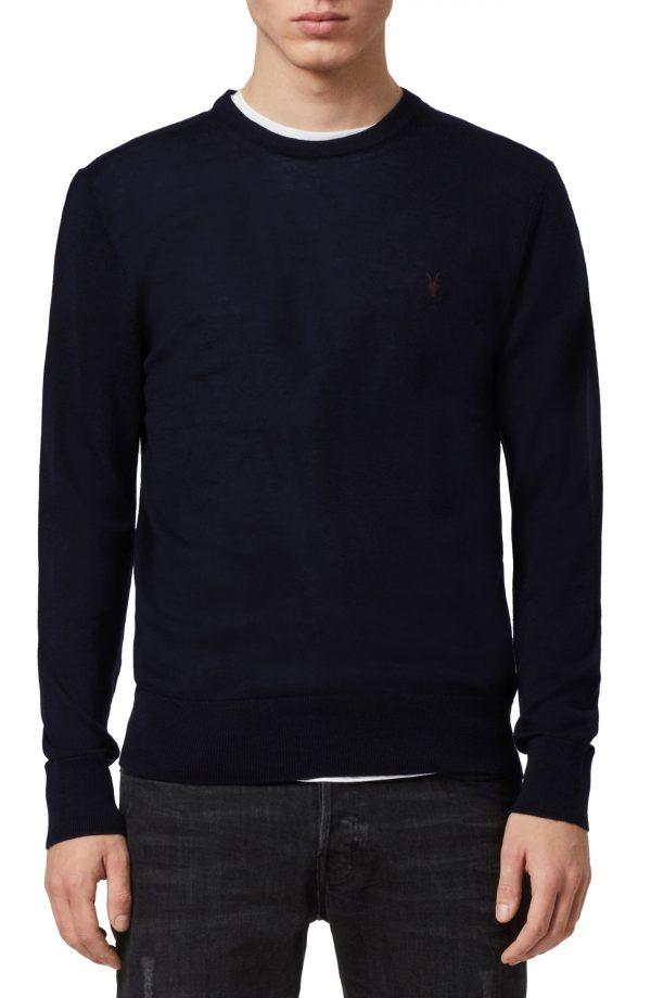 Men's Allsaints Mode Slim Fit Merino Wool Sweater, Size Medium - Blue