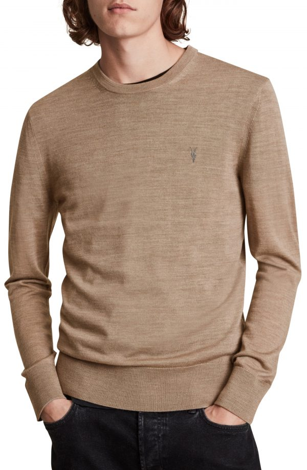 Men's Allsaints Mode Slim Fit Merino Wool Sweater, Size Small - Brown