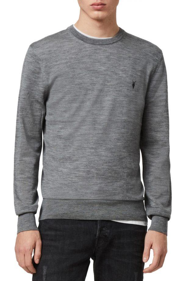 Men's Allsaints Mode Slim Fit Merino Wool Sweater, Size Small - Grey