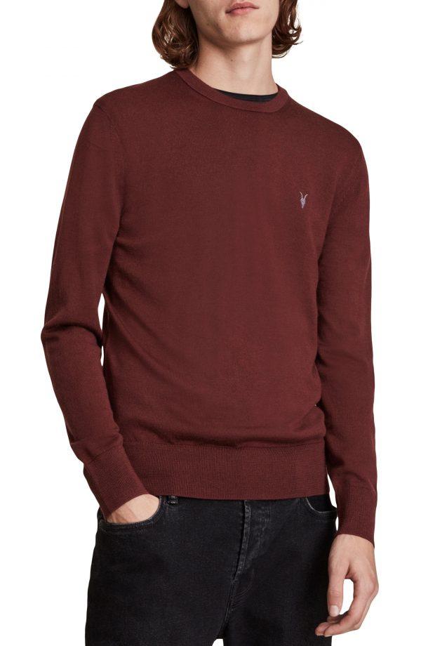 Men's Allsaints Mode Slim Fit Merino Wool Sweater, Size Small - Red