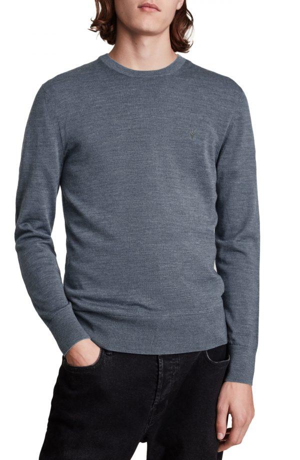 Men's Allsaints Mode Slim Fit Merino Wool Sweater, Size X-Small - Blue