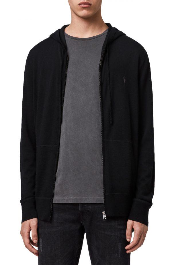 Men's Allsaints Mode Slim Fit Merino Wool Zip Hoodie, Size Small - Black