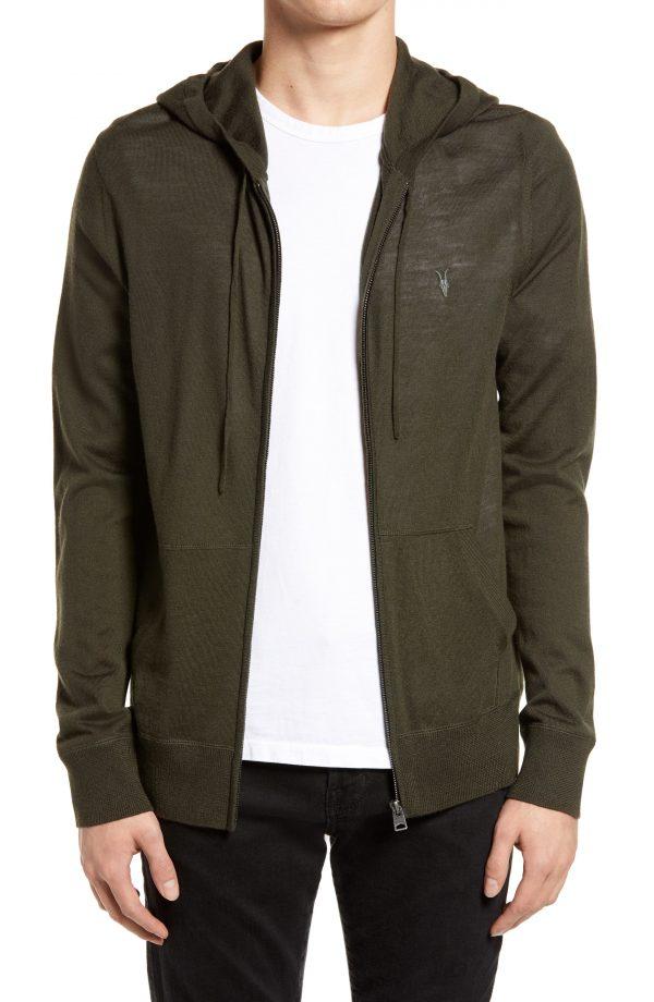 Men's Allsaints Mode Slim Fit Merino Wool Zip Hoodie, Size XX-Large - Green