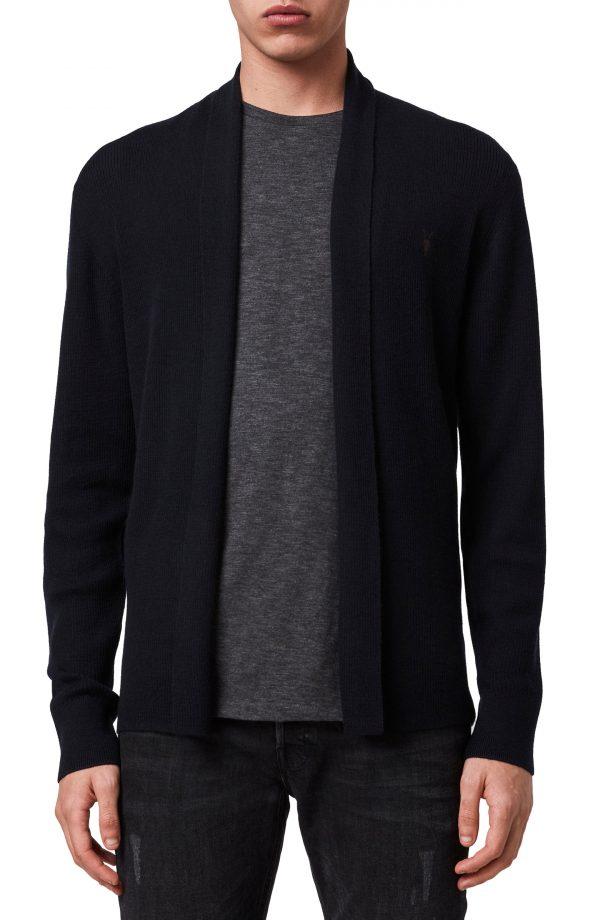 Men's Allsaints Mode Slim Fit Wool Cardigan, Size Medium - Blue