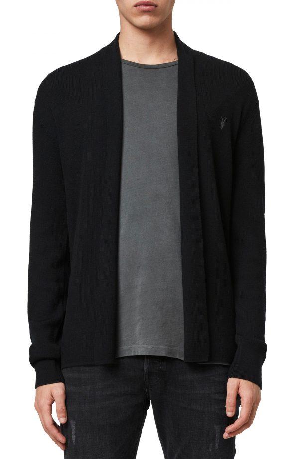 Men's Allsaints Mode Slim Fit Wool Cardigan, Size Small - Black