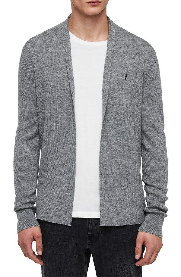 Men's Allsaints Mode Slim Fit Wool Cardigan, Size Small - Grey