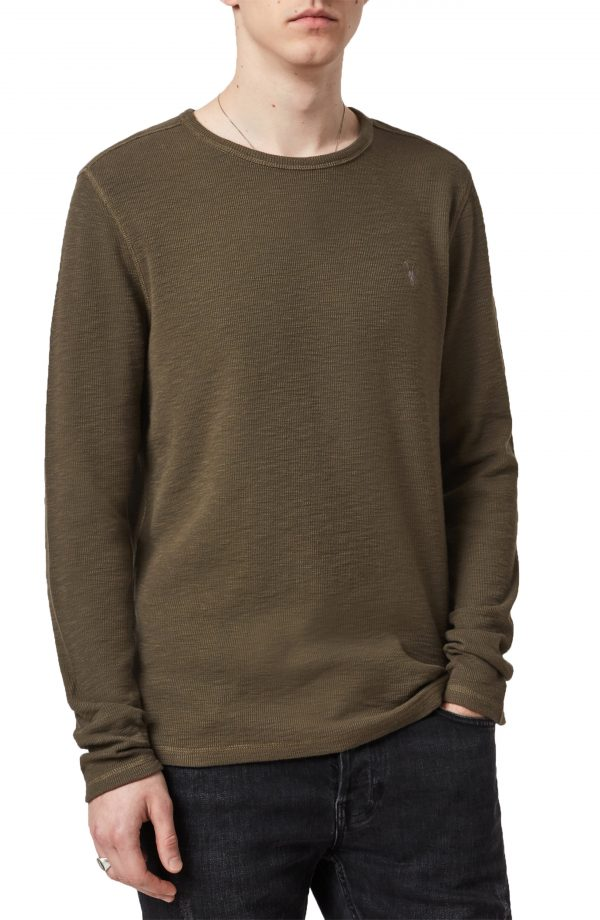 Men's Allsaints Muse Long Sleeve Cotton T-Shirt, Size Small - Green
