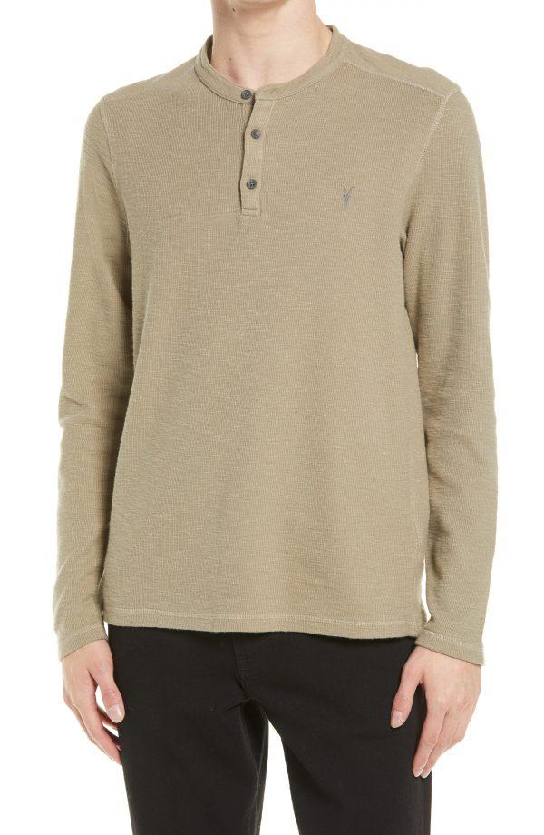 Men's Allsaints Muse Long Sleeve Henley T-Shirt, Size Small - Green