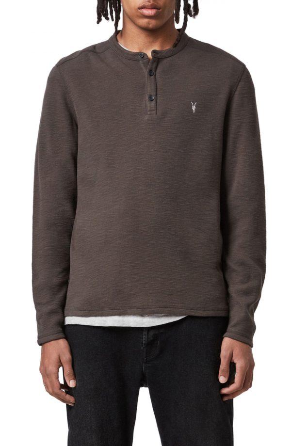 Men's Allsaints Muse Long Sleeve Henley T-Shirt, Size X-Large - Brown