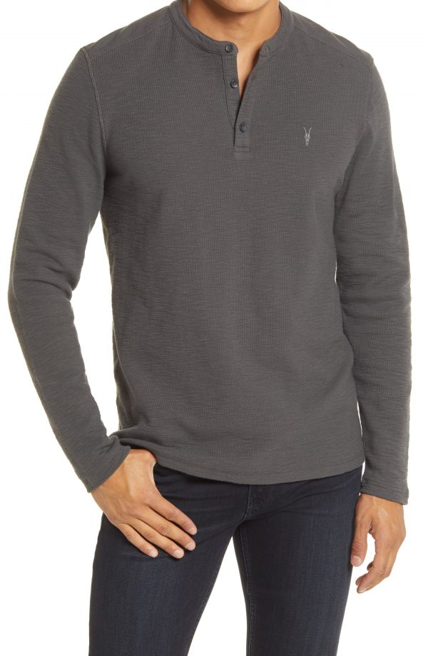 Men's Allsaints Muse Long Sleeve Thermal Henley, Size Small - Grey