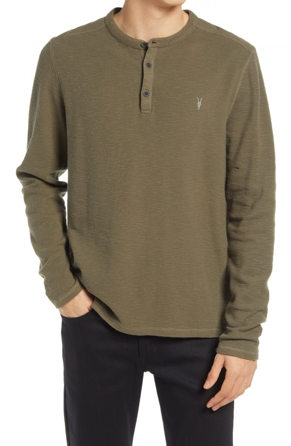 Men's Allsaints Muse Long Sleeve Thermal Henley, Size X-Large - Green