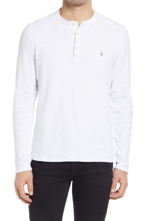 Men's Allsaints Muse Long Sleeve Thermal Henley, Size XX-Large - White
