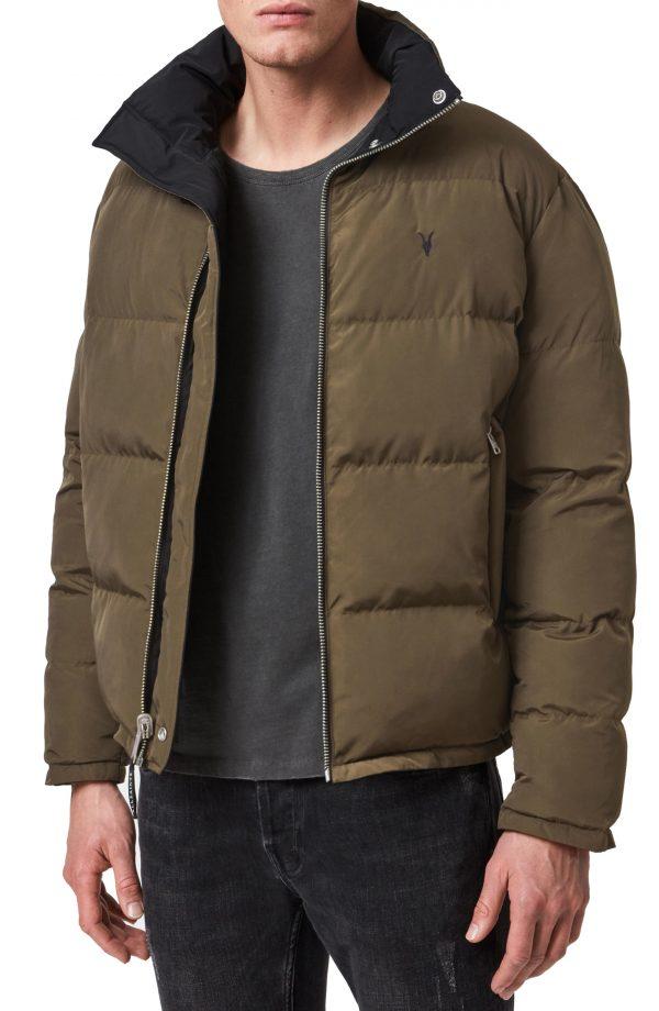 Men's Allsaints Novern Reversible Puffer Jacket, Size X-Small - Green