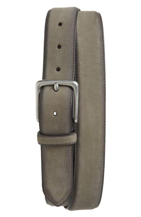 Men's Allsaints Nubuck Leather Belt, Size 38 - Grey/ Dull Nickel