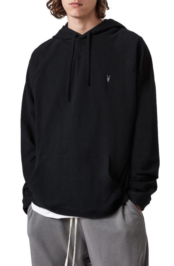 Men's Allsaints Oakley Cotton Hoodie, Size Medium - Black