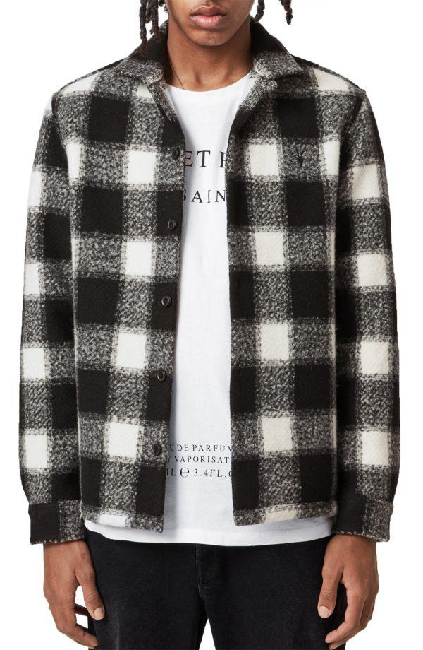 Men's Allsaints Oberlin Slim Fit Check Button-Up Shirt, Size Medium - Beige