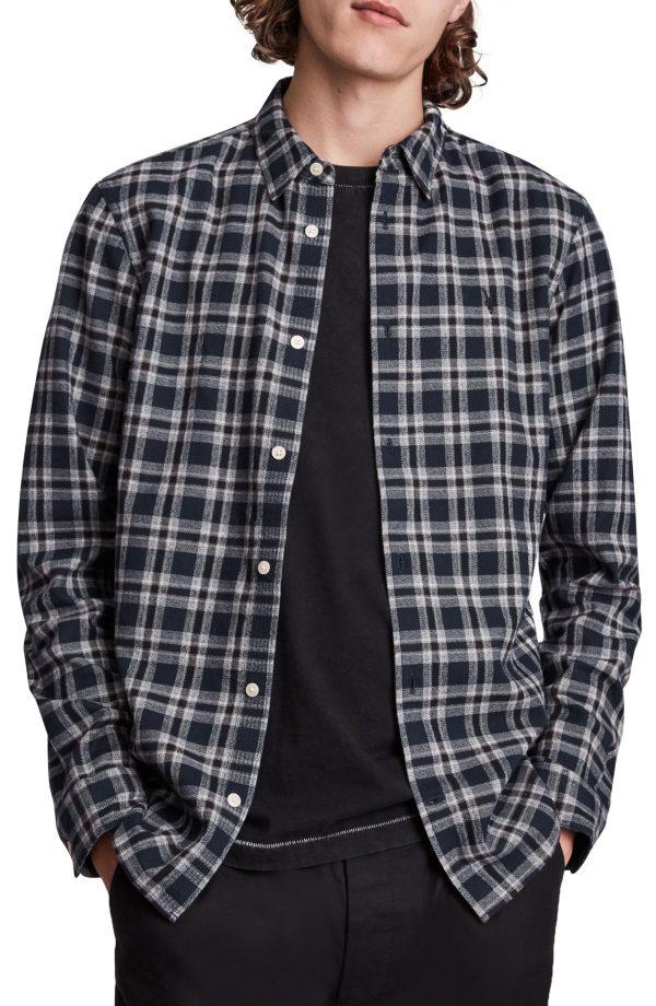 Men's Allsaints Oneida Flannel Button-Up Shirt, Size Small - Blue
