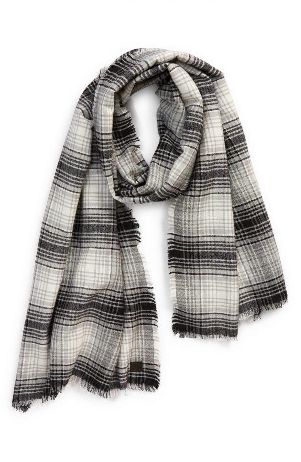 Men's Allsaints Plaid Oblong Wool Blend Scarf, Size One Size - Black