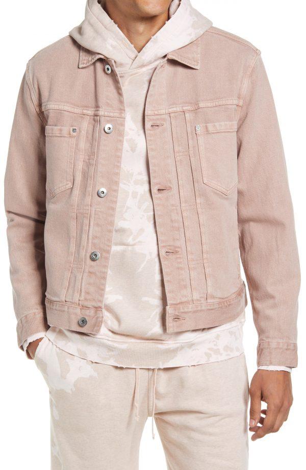 Men's Allsaints Prado Denim Jacket, Size Large - Pink