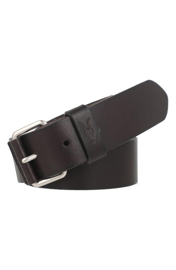 Men's Allsaints Ramskull Leather Belt, Size 32 - Bitter Brown Dull Nickle