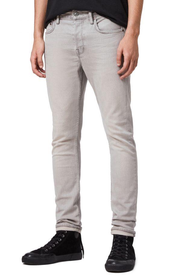 Men's Allsaints Raveline Cigarette Skinny Fit Jeans, Size 31 - Grey