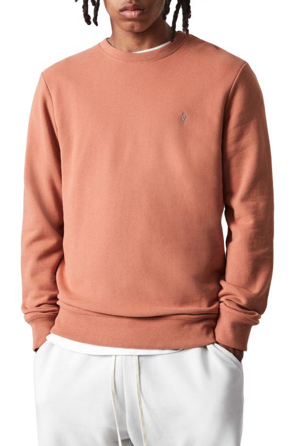 Men's Allsaints Raven Cotton Sweatshirt, Size Medium - Pink