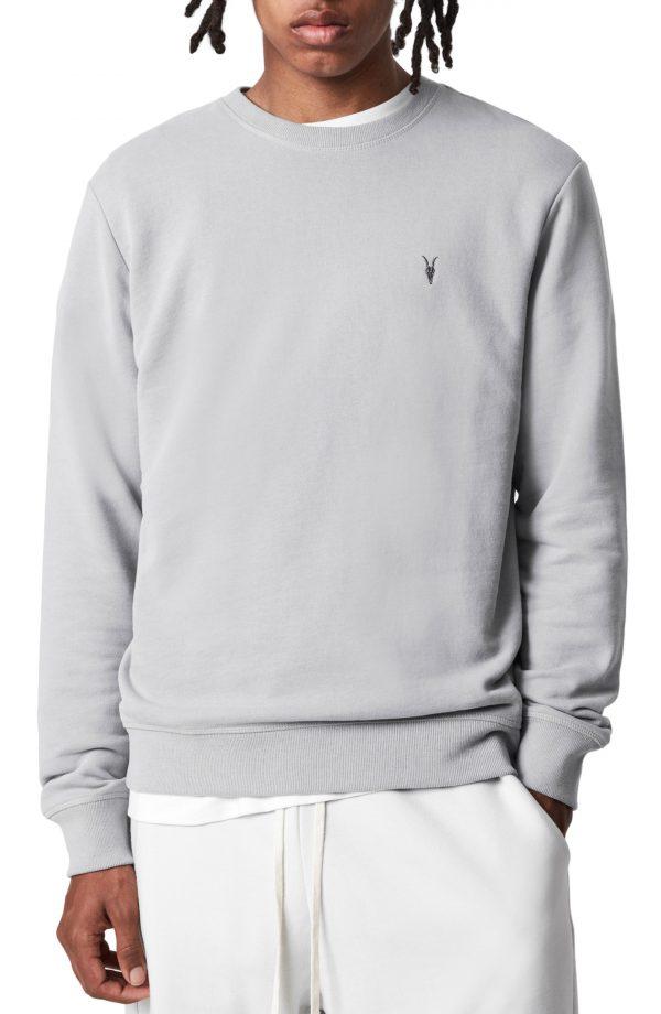 Men's Allsaints Raven Cotton Sweatshirt, Size X-Small - Grey