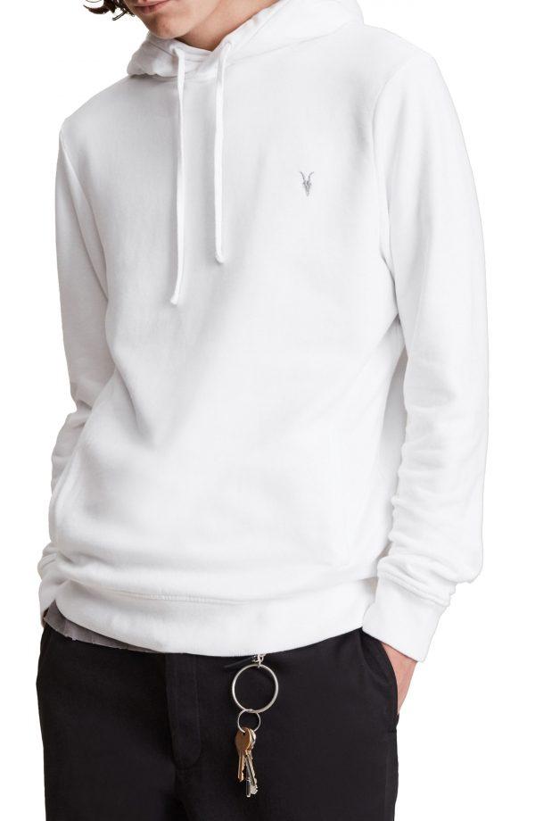 Men's Allsaints Raven Hoodie, Size Small - White