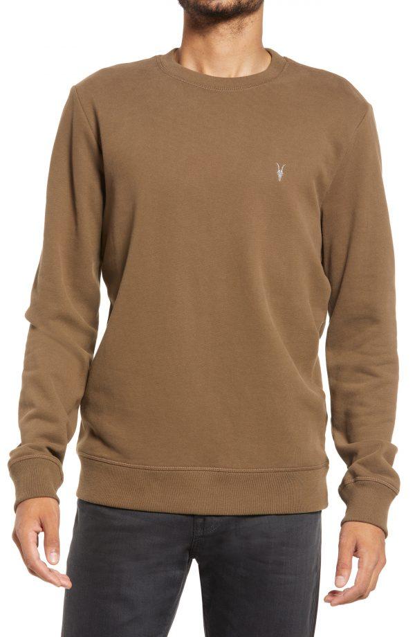 Men's Allsaints Raven Slim Fit Crewneck Sweatshirt, Size Small - Brown