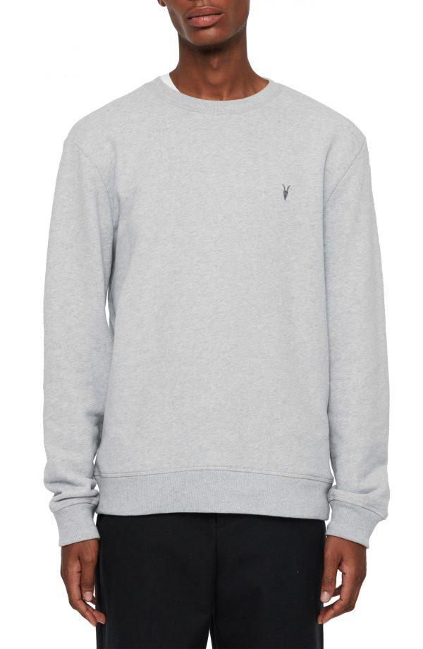 Men's Allsaints Raven Slim Fit Crewneck Sweatshirt, Size X-Large - Grey
