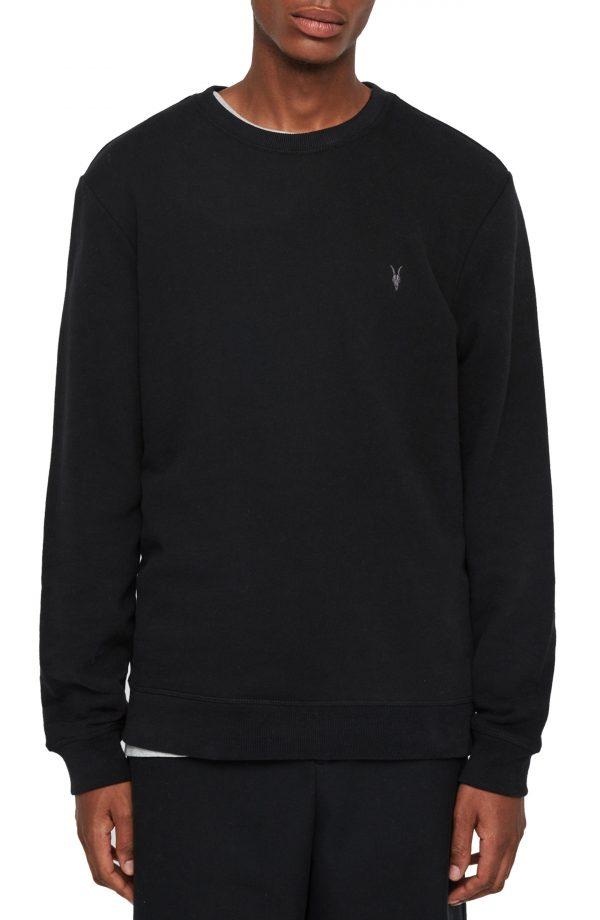 Men's Allsaints Raven Slim Fit Crewneck Sweatshirt, Size X-Small - Black