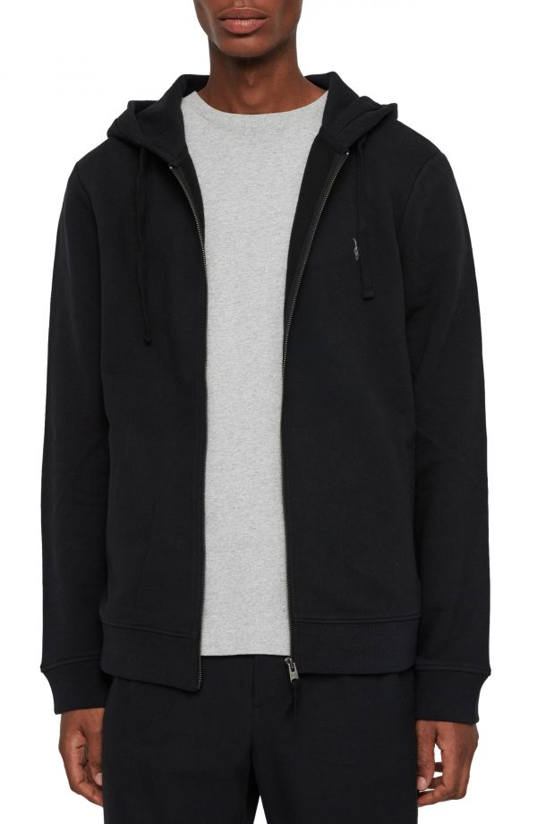 Men's Allsaints Raven Slim Fit Zip Hoodie, Size Small - Black