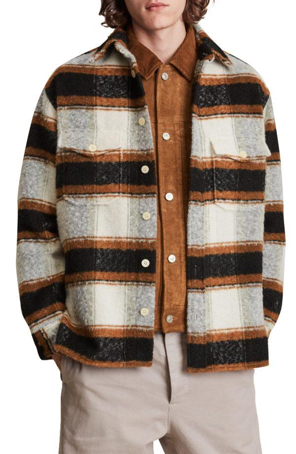 Men's Allsaints Rayado Stripe Shirt Jacket, Size Small - White