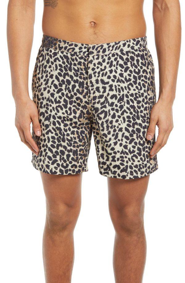 Men's Allsaints Reserve Swim Shorts, Size X-Small - Beige