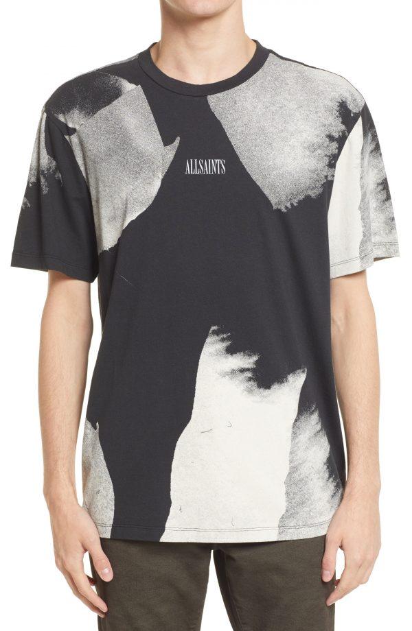 Men's Allsaints Santana Abstract Floral T-Shirt, Size Medium - Black